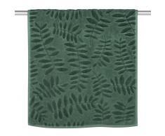 Asciugamano in cotone verde con motivi a foglie, 50x100