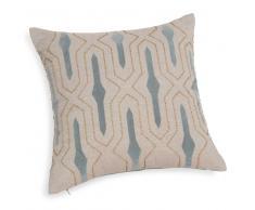 Fodera di cuscino blu/beige in cotone 40 x 40 cm KEZIA