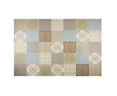 Tappeto con motivi a mattonelle di cemento beige e blu 200x300cm PROVENCE