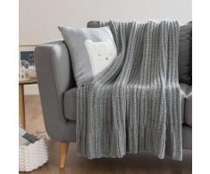 Plaid lavorato a maglia grigio, 125x150 cm