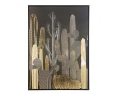 Tela con stampa cactus nero e dorato, 105x145 cm