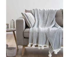 Plaid a pompon lavorato a maglia grigio e bianco, 125x150 cm