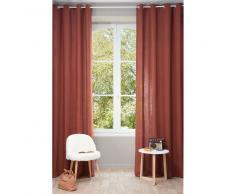 Tenda in lino slavato rosso scuro con occhielli 130 x 300 cm