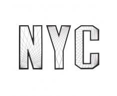 Decorazione da parete parola NYC in metallo nera, 122 cm