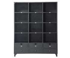 Libreria nera stile industriale in metallo L 160 cm Edison