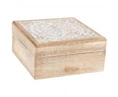 Scatola in legno di mango motivo mandala scolpito e sbiancato