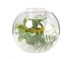 Candeliere barattolo in vetro e decorazione piante artificiali