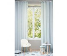 Tenda in lino slavato blu ghiaccio con occhielli 130 x 300 cm