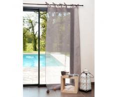 Tenda grigia in lino con laccetti 105 x 300 cm
