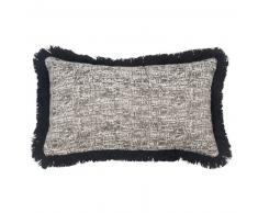 Fodera di cuscino a frange in cotone nera, 30x50 cm