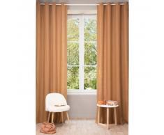 Tenda in lino slavato arancione scuro con occhielli 130 x 300 cm
