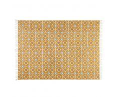 Tappeto in cotone con motivi a mattonelle di cemento giallo senape 160x230cm BLOCALIA