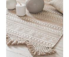 Tappeto di cotone bianco e beige con motivi 60 x 90 cm RYANA