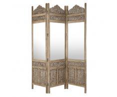 Paravento in legno scolpito con specchio L 153 cm SURABAYA