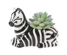 Pianta grassa artificiale e portavaso zebra in ceramica, 11 cm