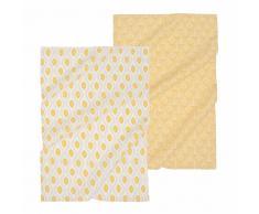 2 strofinacci in cotone con motivi gialli e grigi YUZU