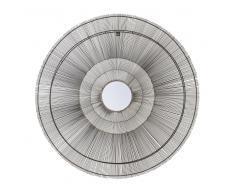Specchio rotondo in fili di metallo nero, D 113 cm