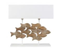 Lampada pesci in legno di mango scolpito e abat-jour bianco