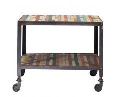 Tavolino da salotto multicolore a rotelle in legno L 45 cm Bahia