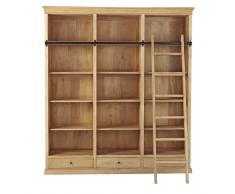Libreria in mango con scala L 190 cm Naturaliste