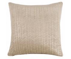Fodera di cuscino beige con motivi dorati in tessuto 45x45