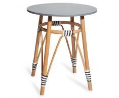 Tavolino da salotto in rattan e piano grigio PENLY