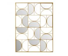 Decorazione da parete specchio in metallo dorata, 90x120