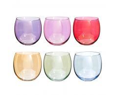 Set 6 bicchieri in vetro multicolore COLORAMA