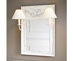 Specchio in legno e tela effetto anticato con applique doppio H 70 cm AMBROISE