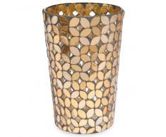 Vaso mosaico in vetro ambrato H 18 cm FLOWER