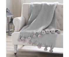 Coperta grigia in lana con pompon 130 x 170 cm POMPONE