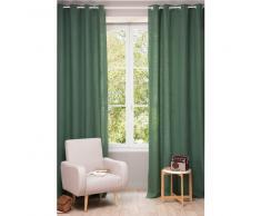 Tenda in lino slavato verde scuro con occhielli 130 x 300 cm