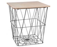 Tavolino da salotto con fili in metallo nero e simil legno MORGAT