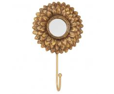 Attaccapanni specchio a 1 gancio dorato
