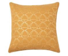Fodera di cuscino in cotone ricamata gialla e dorata, 40x40 cm