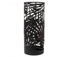 Portaombrelli in metallo traforato nero motivi foglie
