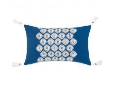 Fodera di cuscino in cotone blu con pompon blu, 30x50 cm