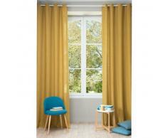 Tenda in lino slavato giallo senape con occhielli 130 x 300 cm