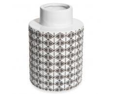 Vaso in ceramica bianco con motivi a triangoli H.22 cm GRAPHIC