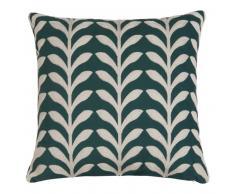 Fodera di cuscino verde ricamata 40x40cm