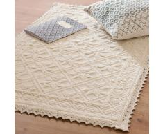 Tappeto intrecciato in cotone écru, 60x90