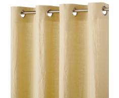 Tenda con occhielli in lino lavato giallo, 130x300