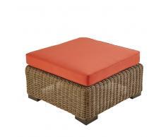 Pouf da giardino in resina intrecciata e cuscino terracotta Fidji