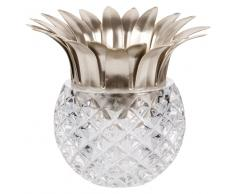 Candeliere ananas in vetro e metallo dorato