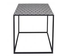 Tavolino da salotto in metallo con motivi neri e bianchi AMINA