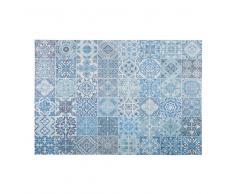 Tappeto con motivi a mattonelle in cemento blu 140x200cm CAPRI