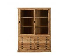Credenza stile industriale 2 porte 6 cassetti in legno massello di mango Factory
