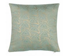 Fodera di cuscino verde con motivi dorati in cotone 40x40