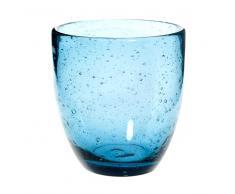 Bicchiere blu in vetro a bolle