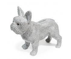 Salvadanaio argento a forma di cane A 24 cm DOGGY